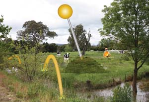 9 Collective action: environmentalism in contemporary art: JADE WILLIAMSON   The Riparian Project,  Stitching the Landscape , 2013, concept sketch, permanent public artwork for the Yea Wetlands, Victoria; ©Jen Rae