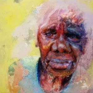 6 Painting Virtue: a portrait of Laurie Baymarrwangga: BENTLEY JAMES   Gillian Warden,  Virtue  (portrait of Laurie Baymarrwangga, 2013, 120 x 120cm; image courtesy the artist