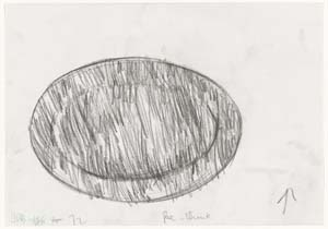 10 Look Again: the work of Janet Dawson in the collection of the National Gallery of Australia: JENNY BELL   Janet Dawson,  Oval rough drawing  [1], 1972, conté crayon, part 1 of 7-part series; image size: 14.2 x 20.4cm; paper size: 21 x 30cm; Bell writes: 'We see close-up, just a jumble of craggy, seemingly non-committal lines. The drawing has the shape of an ellipse, the title suggests a sporting arena but it could be an egg. This does not matter. Give the work some distance, just a few paces, and watch those lines take hold of space and, with precision, twitch.' From the collection of the National Gallery of Australia, Canberra; images courtesy the artist and the NGA