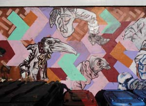 21 Dan Maginnity: byrd's eye-view: HANNA HOYNE   byrd's graffiti alley-wall at the Front Cafe, Lyneham; image courtesy the artist and the Front Cafe, Lyneham