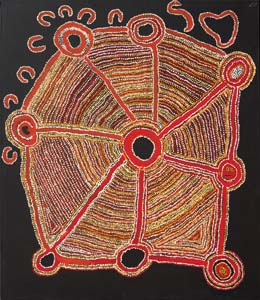 3 Spinifex People, Spinifex Art: ALAN R. DODGE   Kathleen Donegan,  Unbun , 2010, acrylic on canvas, 118 x 138 cm. Image courtesy the artists and Spinifex Arts Project