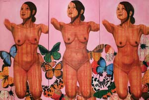 11 Bodyscape: Renegotiating feminist ideals in Indonesian visual arts: WULAN DIRGANTORO   Lelyana Kurniawati,  Bout her fly (story) , 2009, acrylic on canvas, 180 x 120cm, (tryptich). Image courtesy of the artist
