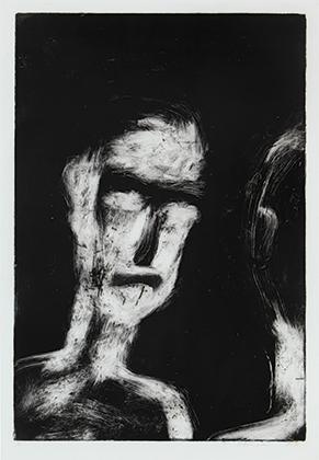 2 Quick, raw and physical: Franck Gohier's monoprints: Joanna Barrkman,  Darwin    Franck Gohier,  Self portrait 1 , 1991, monoprint, 50 x 34cm (print), 58.3 x 45.5cm (paper); Charles Darwin University (CDU) Art Collection, Darwin, acquired 1991; image courtesy the artist and CDU Art Collection and Art Gallery, Darwin
