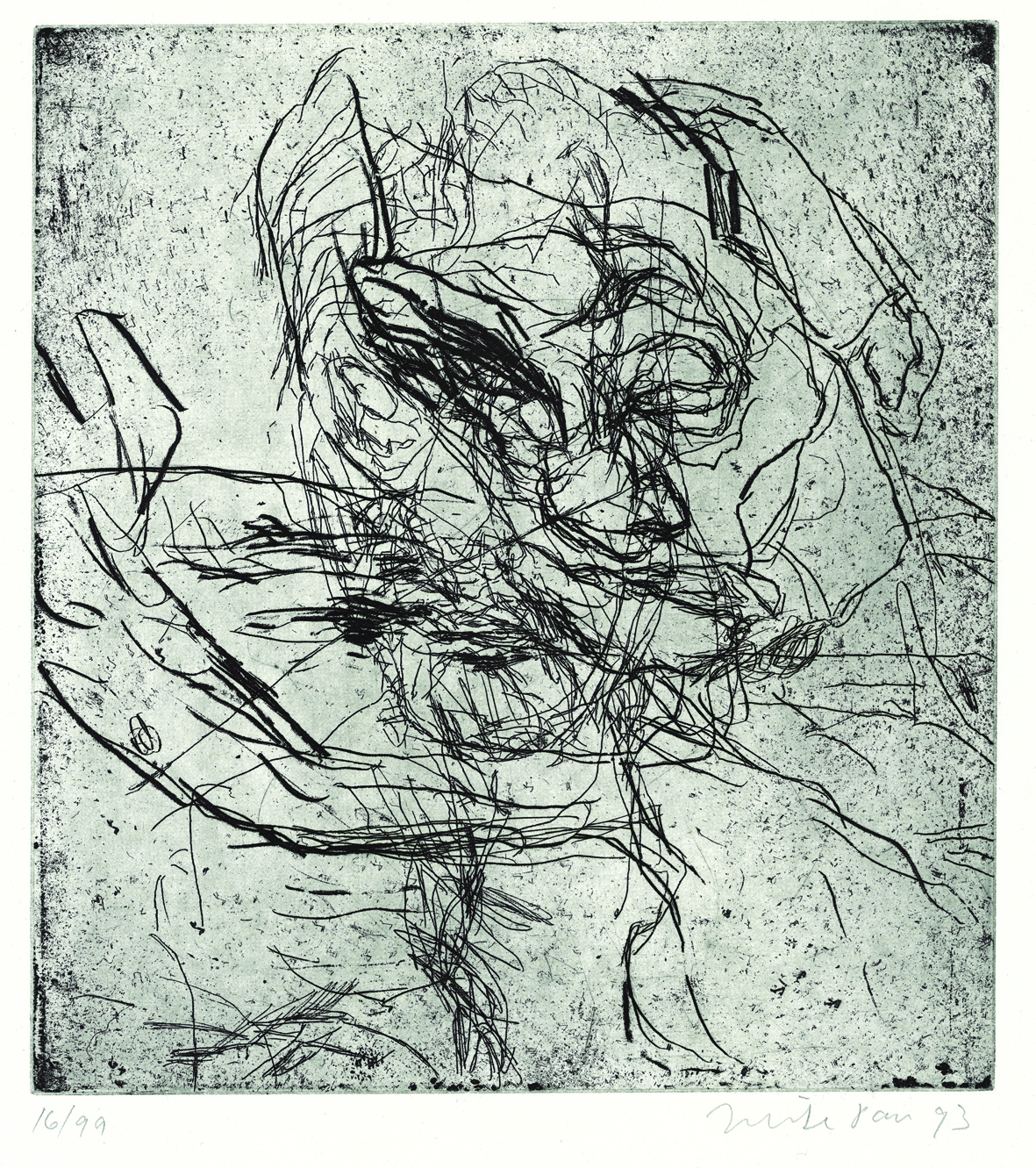 MIKE PARR,  THE WIND , 1993, EDITION OF 99, AU$850  ETCHING, 54 X 39.8CM (SHEET); PRINTER: JOHN LOANE, VIRIDIAN PRESS, MELBOURNE