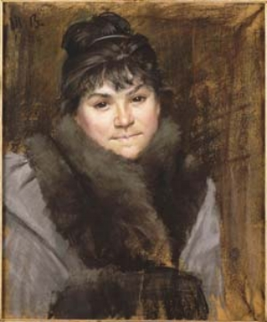 12 Modern Women: Daughters and lovers 1850-1918, drawings from the Musée d'Orsay: SASHA GRISHIN   Marie Bashkirtseff,  Portrait of Mme X , c.1894, pastel and charcoal drawing, 56 x 46.5cm. PURCHASED 1885; COLLECTION: MUSEE D'ORSAY, PARIS; PHOTOGRAPH: © RMN (MUSEE D'ORSAY) / HERVE LEWANDOWSKI