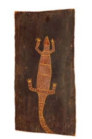 6 Seeing the natural world: Art & Reconciliation: DONNA LESLIE   Peter Nangwurrama Wurrawilya,  Yaraja  [ Goanna ], c. 1945-49, ochres and orchid extract on eucalyptus bark; The Leonhard Adam Collection of International Indigenous Culture, the University of Melbourne Art Collection