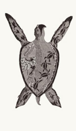 7 Sageraw Thonar: Stories from the southeasterly season: Miriam Carter,  Cairns    Laurie Nona,  Malngu Sagrr Gimeiya , 2016, linocut print on paper, 154.3 x 110.5cm (image size); image courtesy the artist and Badu Art Centre; photo: Jon Linkins