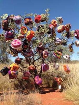 7 Desert winter: HANNAH KOTHE    The Beanie Tree, Uluru ; image courtesy the Alice Springs Beanie Festival