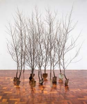 7 Canberra: Expansion and contraction: RAQUEL ORMELLA   Wendy Teakel,  Grove,  2014, installation view at ANU School of Art Gallery, 2014; wood, steel, cable ties, 343 x 350 x 280cm; courtesy the artist and Beaver Galleries, Canberra