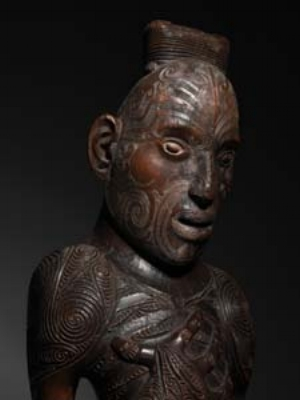 4 Animating Atua: In the presence of Polynesian gods: MARGARET JOLLY    Ancestor figure, part of a pou-tokomanawa , mid- to late 19th century; Māori, Aotearoa/New Zealand, southern Polynesia; attributed to Raharuhi Rukupo; wood, 80 x 26.5 x 20cm; NGA, Canberra; © NGA; all rights reserved