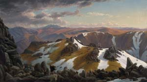 22 Eugene von Guérard: Nature Revealed: PATRICK HUTCHINGS    North-east view from the northern top of Mount Kosciusko, 1863.  Collection: National Gallery of Australia, Canberra