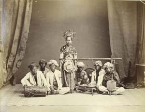 22 Beyond Batavia: the photography of Walter Woodbury and James Page   Dancer in traditional dress with musicians. Image of work by Walter Woodbury and James Page; courtesy Bonhams, London