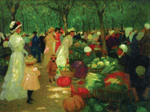 22 Art, love and life: Ethel Carrick and E. Phillips Fox: SASHA GRISHIN   Ethel Carrick Fox,  Market, under trees , 1919,  oil on canvas, 73 x 98.5cm. PRIVATE COLLECTION. COURTESY: SOTHEBY'S AUSTRALIA