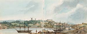 14 The Lady Vanishes (or, An Adventure in conoisseurship): DAVID HANSEN   Edward Close (attrib.)  Sydney in all its Glory , folio from late 1810s sketchbook. Image courtesy Sotheby's Australia