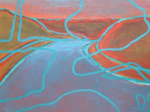 5 Yangtze Tears from Beiirrinba Blood: TESS ALLAS    Mapping Beiirrinba , acrylic on canvas, 2004, 120 x 160cm. All images are of work by Frances Belle Parker; image courtesy the artist