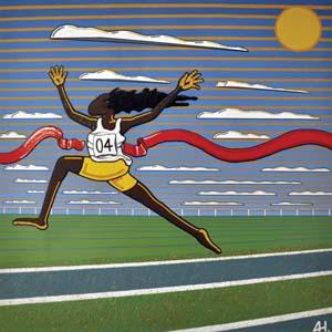 6 Adam Hill - Not a proppa Aborigine: DJON MUNDINE   Adam Hill , Despite her race she was a winner , 2004, acrylic on canvas, 150 x 150cm. Collection: Parliament of NSW (finalist, Parliament of NSW Indigenous Art Prize)