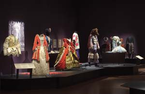 11 Magic of the Dance – Ballets Russes: The Art of Costume: ALAN R. DODGE    Ballets Russes: The Art of Costume  installation view, National Gallery of Australia, with (left) costumes for  The Sleeping Princess