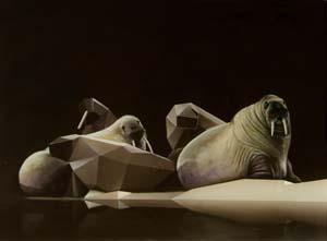 13 Sam Leach's Platonia: PAVEL S. PYS    Walrus Configuration 1 , 2010, oil and resin on linen on wood, 26 x 36cm. Images courtesy the artist Sam Leach, Sullivan + Strumpf Fine Art, Sydney, and COMODAA, London