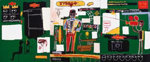 4 Basquiat Notes: WES HILL    Zydeco , 1984, acrylic and oilstick on canvas, 218.5 x 518cm. Bischofberger Collection, Switzerland; © 2010, ProLitteris, Zurich