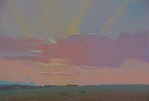 12 Quixotic Pursuit: Tim Miller's Sundown: PATTI MILLER   Tim Miller,  19.2.09 , pastel on paper, 12 x 17cm. Courtesy the artist and Charles Hewitt Gallery, Sydney