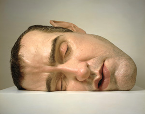 1 Mueck Memory Lane: CHRISTOPHER HEATHCOTE   Ron Mueck , Mask II , 2002, polyester resin, fibreglass, steel, plywood, synthetic hair: second edition, artist's proof, 77 x 118 x 85cm. Private Collection
