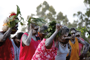 7 Art in Country: Garma 2009, JANE HEALY   Dancers from Galiwinku (Elcho Island) at Garma, with Daisy Burarrwanga in the front. Photograph by Francine Chinn.
