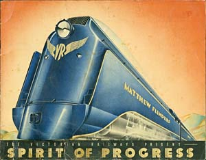 6 Spirits of Progress: Exhibiting Art Deco and Modernism in Australia: ANDREW MONTANA   The Victorian Railways present The Spirit of Progress, 1937, cover image for booklet: colour photolithographs, letterpress, 12 pages, cardboard cover, stapled binding, 20.8 x 26.8cm (closed), published by Victorian Railways. Museum Victoria, Melbourne. Purchased, 2005. Image courtesy National Gallery of Victoria