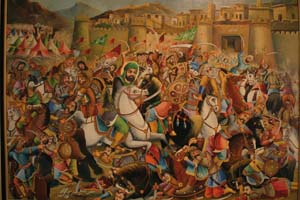 7 The heart of martyrdom: First International Fajr, Tehran: HELEN MUSA   Hossein Hamedani,  The Battle of Khaybar,  pre-1979, oil on canvas. An example of the 'Teahouse' school of painting, this scene depicts a battle fought in the year 629 AD between the Prophet Muhammad and his opponents. Exhibited in the second edition of the Tehran Art Expo at the Vahdat Hall, Tehran, December 2008. Image courtesy Tehran Times