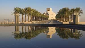 9 Building bridges in the desert, Museum of Islamic Art bedazzles: MATTHIAS KRUG   The Museum of Islamic Art's main building entrance façade through the palm tree alley