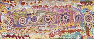 1 Darby Jampijinpa Ross: Make it good for the people: LOUISE MARTIN-CHEW    Karlanjirrinpirri (Swallow Dreaming),  1994, acrylic on canvas. Collection of Roslyn Premont, Sydney. Courtesy Gallery Gondwana, Sydney and Alice Springs