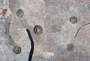 7 Bill Whiskey Tjapaltjarri c. 1920–2008: SASHA GRISHIN   Bill Whiskey Tjapaltjarri,  Rockholes Near the Olgas , 2008, synthetic polymer paint on Belgian linen. Image courtesy Watiyawanu Art Centre and Museum and Art Gallery of the Northern Territory. (This painting currently hangs as a finalist in the 25th Telstra National Aboriginal and Torres Strait Islander Art Award.) Photograph by Regis Martin   8 Letters    About turn – 2008: Sydney Biennale  In response to Michael Desmond's article Back to the future? - 2008 Biennale of Sydney (AMA #213, September 2008), I enclose a quote from a catalogue of one of the Contemporary Art Society's (founded 1938) annual exhibitions. Art does not stand still. Its movement is always forward, so each new year sees some new step taken. If the Contemporary Art Society is to be deserving of its name and the fundamental objects of its constitution, it, too, must move forward, When you cease to find in the annual exhibition of the society any new thought or feeling or any urge to explore the possibilities of the unknown, then you may be sure that the society no longer carries the banner it was intended to bear. ... read the rest in #214