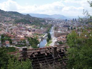 9 Survivor City: Sarajevo: IAN ROHR   Ian Rohr,  Sarajevo looking out beyond a war-destroyed home , digital print, 2008