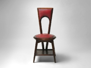 10 Shaping culture: Conversations on craft and design with Robert Bell: Patsy Hely,  Canberra    Marion Mahony Griffin, Walter Burley Griffin and H. Goldman Manufacturing Company, Café Australia chair, 1916, blackwood, plywood, leather, 96 x 47cm; National Gallery of Australia, Canberra, purchased 2015