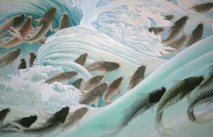 8 Scales of perception: recent Chinese painting: DENNIS COLEMAN   Zhao QiuPing,  Nimble Carp Towards Splendid Waves , 2004, watercolour on paper. Courtesy the artist. Photograph by Adi Pande