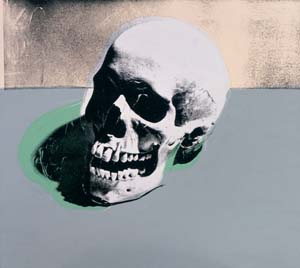 3 Andy Warhol: WESLEY HILL,  BRISBANE    Andy Warhol,  Skull,  1976, Acrylic and silkscreen ink on linen, The Andy Warhol Museum, Pittsburgh Founding Collection, Contribution Dia Center for the Arts © The Andy Warhol Foundation for the Visual Arts, Inc