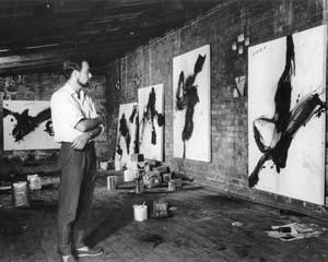 10 Letter: Masters of the Dancing Brush: Peter Upward 1932 – 1983: PENELOPE UPWARD   Peter Upward in his Brougham St studio, Woolloomooloo, Sydney, 1961, before his painting  New Reality  (now in the Art Gallery of NSW). An old friend, Howard Smith, owned this place