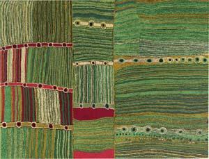 3 Culture Warriors, the inaugural National Indigenous Art Triennial: CARLY LANE, IAN MCLEAN AND JOHN CARTY,  Canberra    Maringka Baker,  Pitjantjatjara people, Kuru Ala , 2007, acrylic on canvas. National Gallery of Australia, Canberra. © Maringka Baker