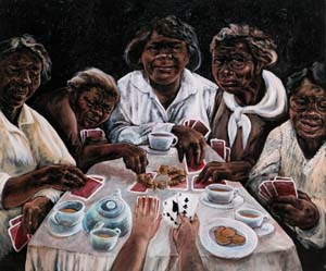 10 Strange fruit: Testimony and memory in Julie Dowling's portraits: KATE SANDS,  Melbourne    Julie Dowling,  Aunties with cards , 1999, synthetic polymer paint, red ochre and gold on canvas, Hyphema Collection, Perth   11 Letter: This (patronised) art life