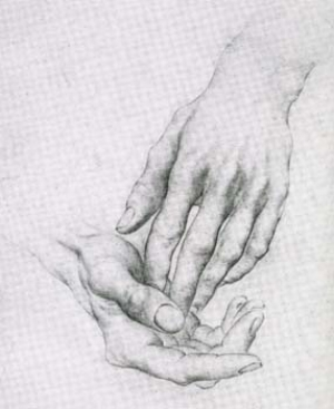 6 The Windsor Group – more than Sunday painters at Hawkesbury Regional Gallery: COURTNEY KIDD   Roderick Shaw,  Dick Edwards's hands , submitted as part of the required works for the NSW Travelling Scholarship (1945), pencil on paper. Collection of Dick and Cynthia Edwards