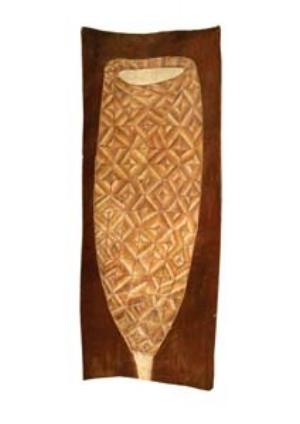 5 Mumeka to Milmilngkan: Innovation in Kurulk art: CATH BOWDLER,  Canberra    James Iyuna,  Mandjabu fish trap,  1999, natural ochres and pigments on bark. Private collection, Maningrida