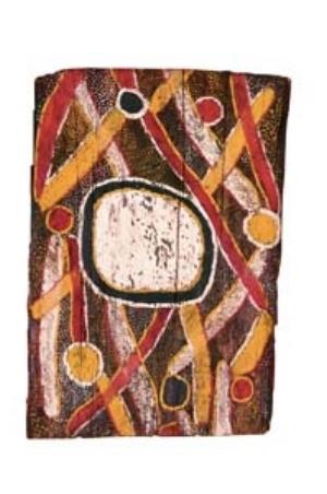 9 Yingarti Jilamara: The art of the Tiwi Islands: JEREMY ECCLES,  Adelaide    Tjamalampua, [Milikapiti, Melville Island],  Bushfire woman at Turiturina,  1954, ochres on bark. South Australian Museum, Adelaide