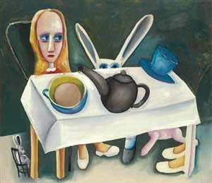 6 The vacant girl, the phallic teapot and the nasty flowers: Charles Blackman: Alice in WonderlanD: TIM FISHER,  Melbourne    Charles Blackman,  Feet beneath the table,  1956, tempera and oil on composition board. National Gallery of Victoria, Melbourne, presented through the NGV Foundation by Barbara Blackman, Honorary Life Benefactor, 2005. © Charles Blackman/Licensed by VISCOPY Ltd, Sydney 2006