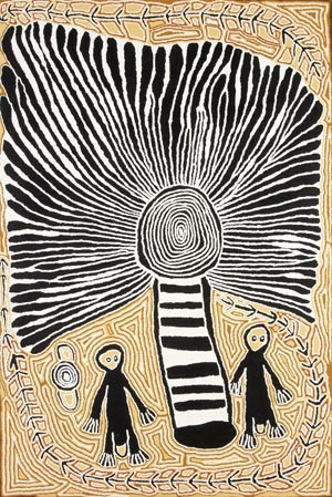 1 The National Aboriginal & Torres Strait 01. Islander Art Award, in Darwin: Yesterday, today and tomorrow: CATH BOWDLER   Linda Syddick Napaltjarri,  The witch doctor and the windmill,  synthetic polymer paint on linen. Courtesy of the artist and MAGNT. Photo Gilbert Herrada
