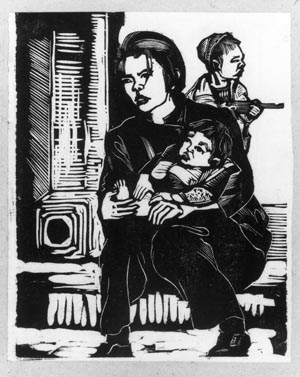 7 Peter Townsend in China and Canberra: The Peter Townsend Collection of Chinese woodcuts in the National Gallery of Australia: CHRISTINE DIXON   Artist unknown (Mai Gan?),  Woman with baby, child with toy gun, c1940 , woodcut. National Gallery of Australia, Peter Townsend Collection, purchased with the assistance of the Australia-China Council 1985