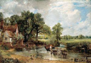 3 Constable, now and then: MICHAEL ROSENTHAL   mage caption: John Constable,  The hay wain,  1821, oil on canvas. The National Gallery, London  In 1984 I was surprised to discover from a furniture advertisement in the Brisbane Courier-Mail that, in Australia as much as in Britain, the walls of the home beautiful would typically be embellished with reproductions after the landscapes of John Constable. While I pondered what resonance these could have for a population whose experience of actual landscape tended to the dry and ochre rather than the wet and green, at least I learned that the art of Constable was as familiar to some Australians as we assume it is to the British