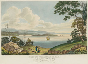 2 A person of the plain surface  Joseph Lycett: Convict artist    Joseph Lycett,  View on the River Tamar, and part of the Asbestos Hills, Van Diemen's Land , from  Views in Australia , 1825, etching and aquatint, printed in black from a copper plate, hand coloured. Petherick Collection, National Library of Australia, Canberra