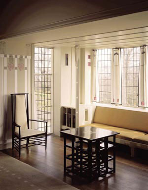 5 Marketing the myth: Glasgw's designs on Chalres Rennie Mackintosh: ANDREW MONTANA   The drawing room at Hill House, Helensburgh, Scotland. Designed by Charles Rennie Mackintosh. Copyright The National Trust for Scotland Photo Library