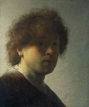8 The coarse and the cleaned:  Dutch Masters from the Rijksmuseum, Amsterdam : DANIEL THOMAS   Rembrandt Harmensz van Rijn,  Self-portrait at an early age (Zelfportret op jeugdige leeftijd ), c 1629, oil on wood panel. Purchased with aid from the Rembrandt Society, the Photo Commission, the Prince Bernhard Foundation and the Ministry of CRM