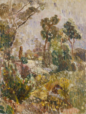6  Amazing Grace : Thoughts inspired by the Grace Cossington Smith exhibition at the National Gallery of Australia, Canberra: VIRGINIA SPATE   Grace Cossington Smith,  Bush at evening , 1947, oil on hardboard. Collection of the Art Gallery of New South Wales