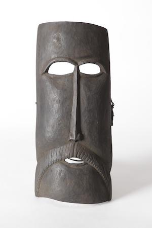 6 Contemporary Atauro carving from Timor-Leste: James Bennett,  Darwin    Kai Nai, Mask, mid-late 20th century; wood, presumed white hardwood (Wrightia javanica), initim (AD), ai lalar (T), 36.5 x 16 x 7.5cm; Charles Darwin University Art Collection, Darwin